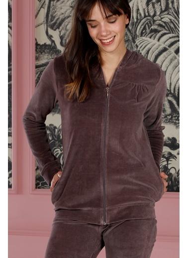 Hays Homewell Kadın Kadife 2Li Uzun Pijama Takımı Lila